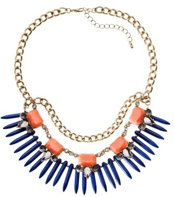 Capsule by Cära Multi Stone and Bead Bib Necklace - Gold/Blue/Coral