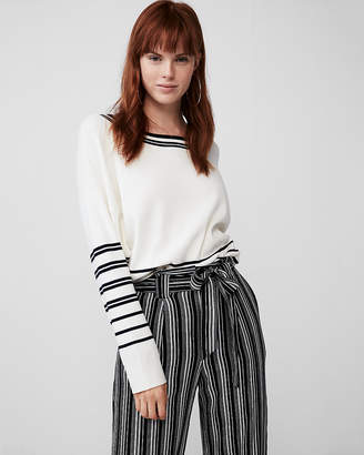 Express Placed Stripe Crew Neck Sweater