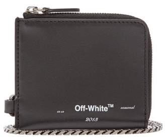 Off-White Off White Logo Print Leather Chain Wallet - Mens - Black