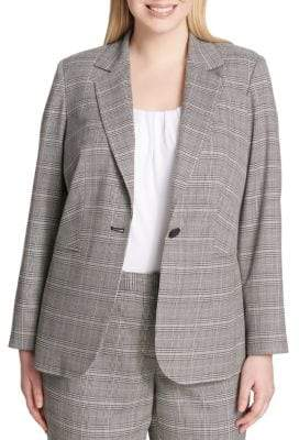 Calvin Klein Plus Plaid One-Button Jacket