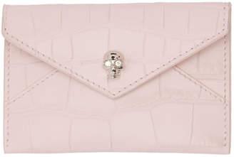 Alexander McQueen Pink Croc Envelope Card Holder