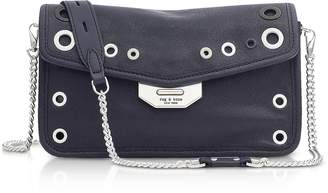 Rag & Bone Navy Blue Leather Grommet Field Clutch