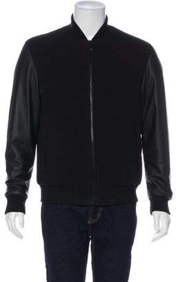 Marcelo Burlon County of Milan Leather-Sleeve Bomber Jacket w/ Tags