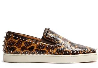 Christian Louboutin Pik Boat python slip-on trainers