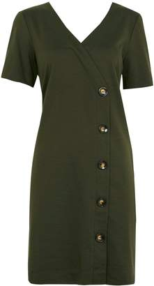 WallisWallis Olive V-Neck Button Shift Dress
