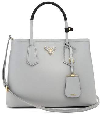 Prada Double Saffiano Leather Bag - Womens - Light Grey