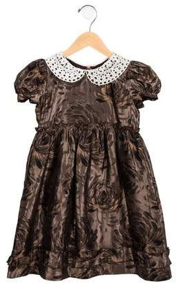 Oscar de la Renta Girls' Floral Jacquard Dress
