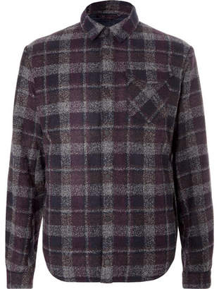 Aztech Mountain Lodge Peak Checked Wool-Blend Flannel And Quilted Shell Overshirt
