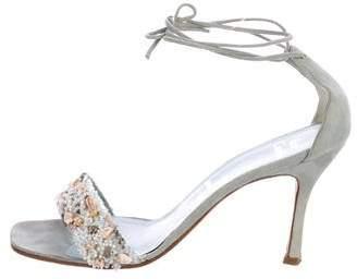 Rene Caovilla Embellished Ankle Strap Sandals