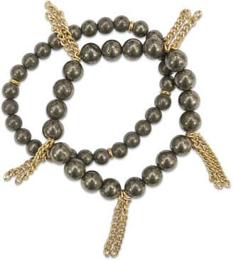 Electric Picks Pyrite & Rosary Chain Fringe Bracelets (Set of 2)