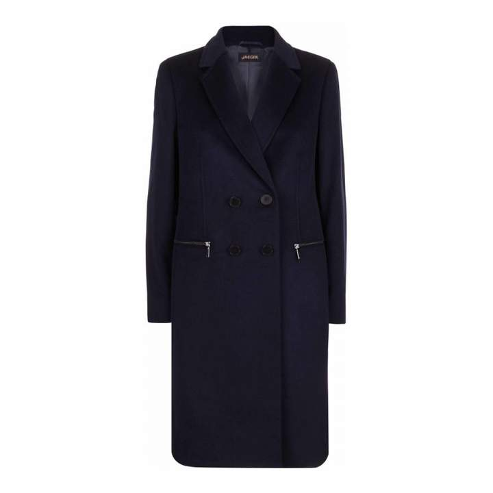 Black Zip Pocket Wool Blend Coat