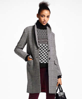 Brooks Brothers Glen Plaid Wool Cocoon Coat