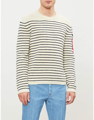 Gucci Snake-motif striped wool jumper