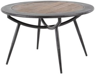 DecMode Decmode Rustic 17 X 30 Inch Wood And Iron Round Coffee Table