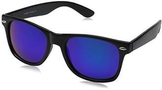 Zerouv ZV-8025-06 Retro Matte Black Horned Rim Flash Colored Lens Sunglasses