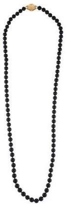 Mizuki 14K Onyx & Diamond Bead Necklace