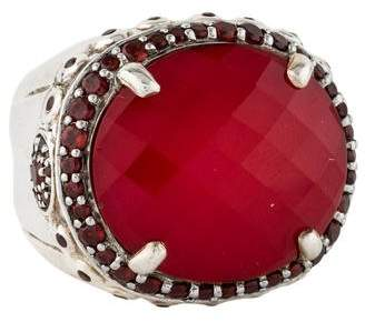 John Hardy Coral Doublet & Garnet Colorway Bamboo Ring