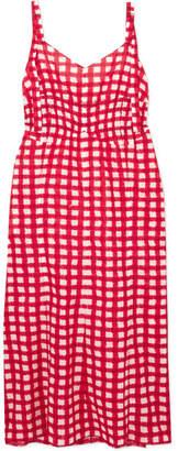 Marni Gingham Cotton-poplin Midi Dress - Red