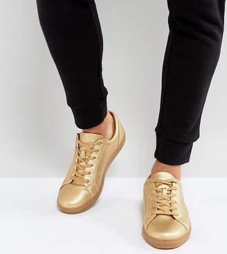 Asos Wide Fit Sneakers in Gold Metallic