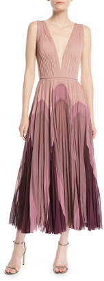 J. Mendel Sleeveless Plunging Pleated Silk Dress