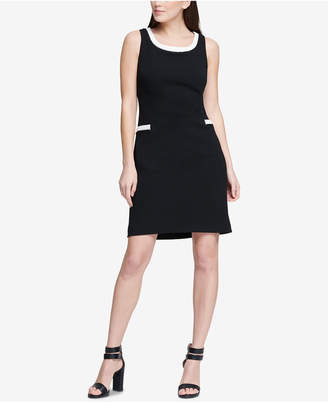 DKNY Colorblocked A-Line Scuba Crepe Dress, Created for Macy's