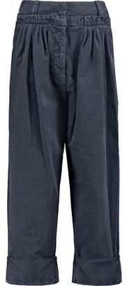J.W.Anderson Cropped Pleated Cotton-Poplin Straight-Leg Pants