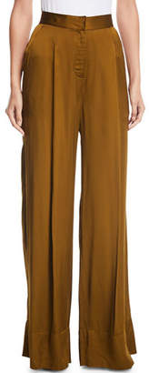 Josie Natori High-Waist Wide-Leg Satin Pants
