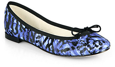 Repetto Abstract-Print Canvas Ballet Flats