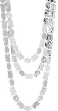 Ippolita Sterling Silver Oval& Rectangle Triple Row Necklace