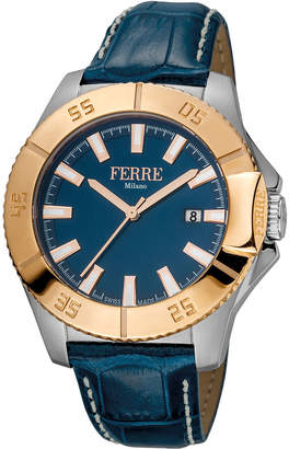 Ferré Milano Men's 45mm Stainless Steel Date 3-Hand Diver Watch with Leather Strap, Rose/Steel/Blue