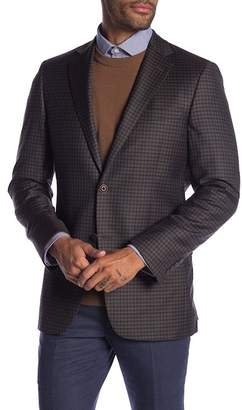 Hart Schaffner Marx Dark Brown Check Two Button Notch Lapel Wool Classic Fit Blazer
