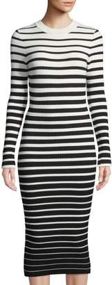 Milly Degrade-Stripe Ribbed Bodycon Dress