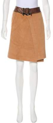 Jean Paul Gaultier Leather-Trimmed Angora Skirt w/ Tags