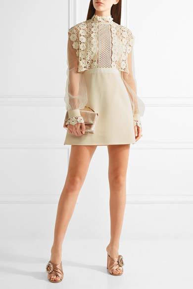 Self-Portrait - Guipure Lace, Crepe And Tulle Mini Dress - Cream 5