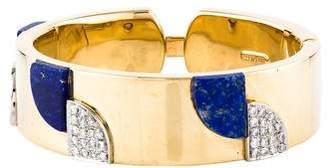 Lapis 18K Diamond & Hinged Bracelet