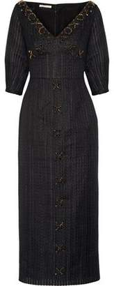 Emilia Wickstead Eden Embellished Organza Midi Dress