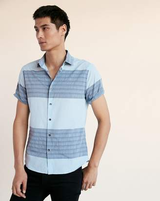 Express Slim Block Stripe Short Sleeve Cotton Shirt