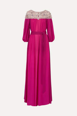 Marchesa Embellished Silk-georgette And Tulle Gown - Fuchsia