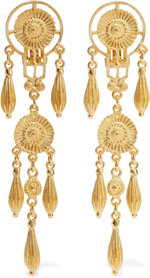 Ben-Amun Ben-Amun Gold-tone clip earrings