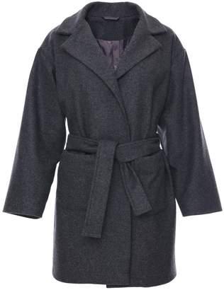 Zalinah White - Petite Boyfriend Coat in Grey British Wool