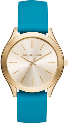 Michael Kors Women's Slim Runway Sporty Teal Silicone Strap Watch 42mm MK2509, Only at Macy's $195 thestylecure.com