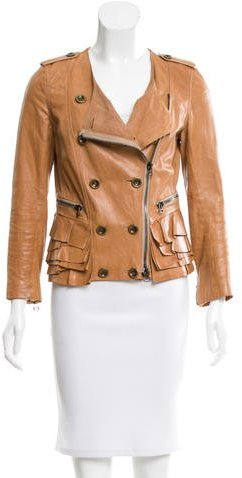 3.1 Phillip Lim 3.1 Phillip Lim Leather Ruffle-Trimmed Jacket