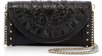Balmain Black Smooth Leather Continental Chain Shoulder Bag w/Embossed Blazon