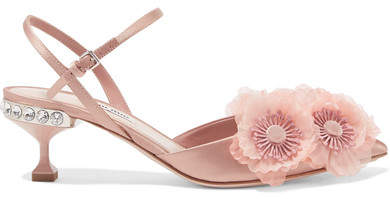 Miu Miu - Appliquéd Satin Pumps - Blush