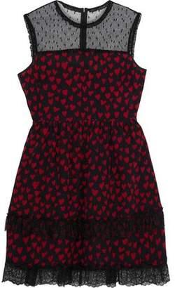 RED Valentino Point D'esprit-Paneled Tiered Printed Silk Mini Dress