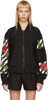 Off-White Black Diagonal Roses Bomber Jacket $2,220 thestylecure.com