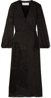 Michelle Mason - Glittered Polka-dot Chiffon Wrap Dress - Black