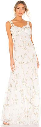 Divine Heritage Velvet Trim Maxi Dress