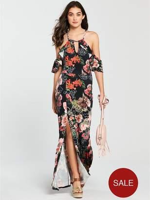 Very Halterneck Cold Shoulder Jersey Maxi Dress - Print
