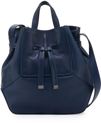 Kooba Anna Leather Drawstring Bucket Bag, Navy $300 thestylecure.com